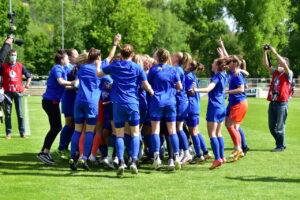 Der Aufstieg in die 1. Frauen Bundesliga ist geschafft. FC Carl Zeiss Jena Frauen.